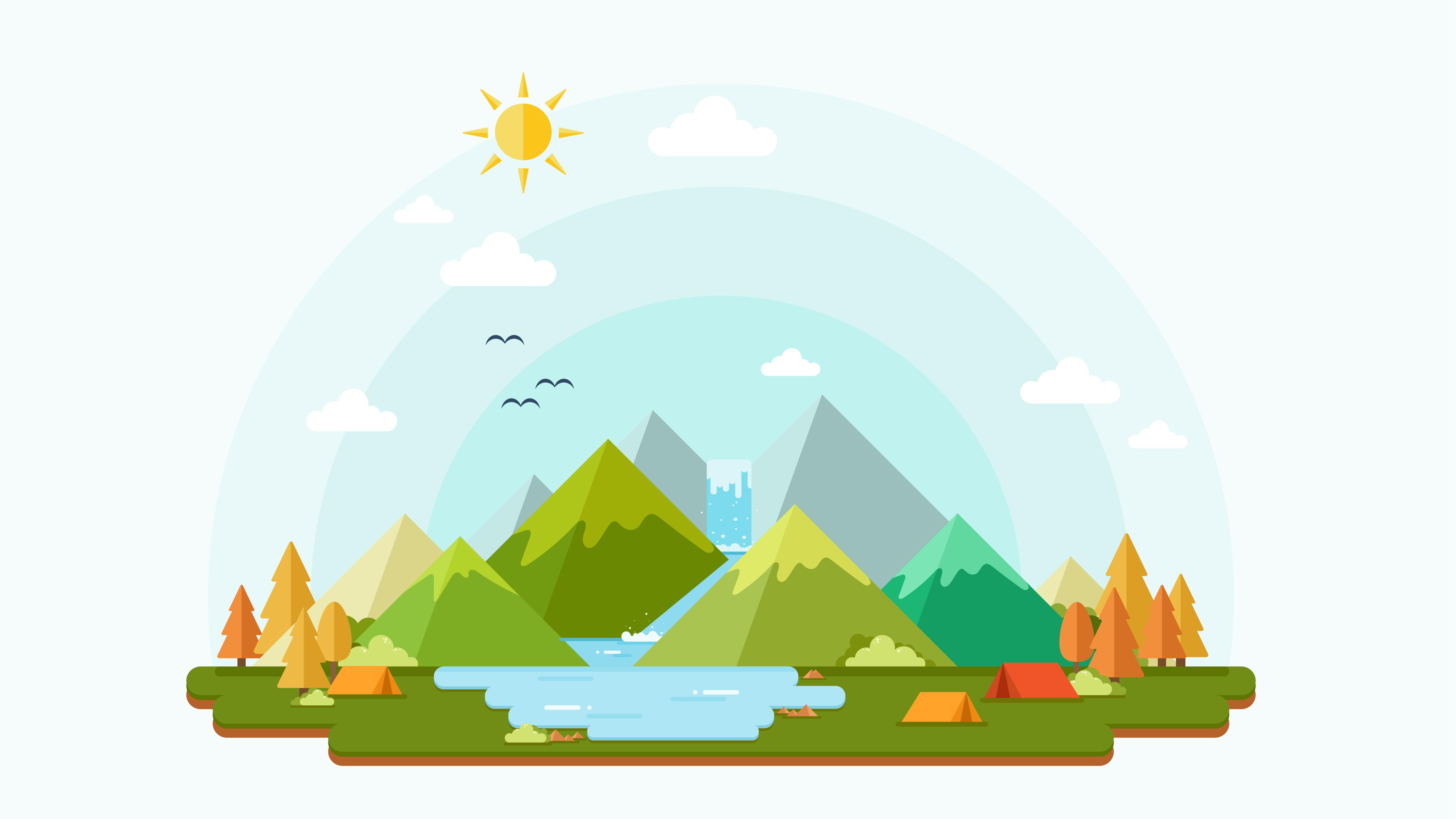 Flat Design Of Nature Landscape Background Download Free Vectors Clipart Graphics Vector Art
