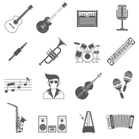 Musik ikoner Svart uppsättning
