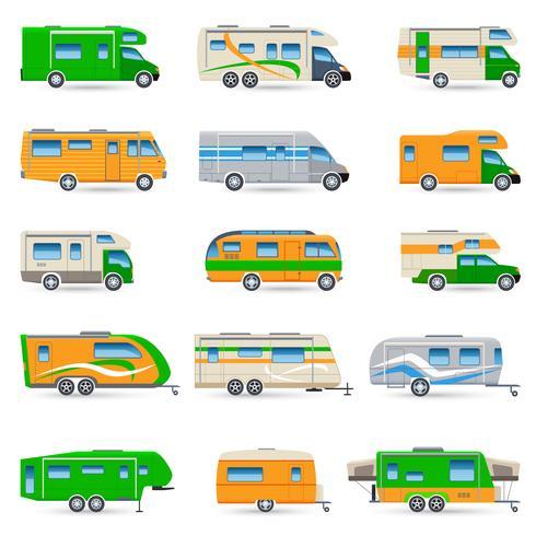 Recreational Vehicle Icons Set vector