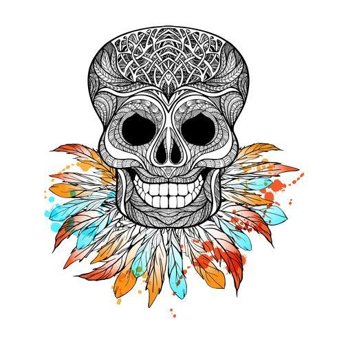 Crânio tribal com penas