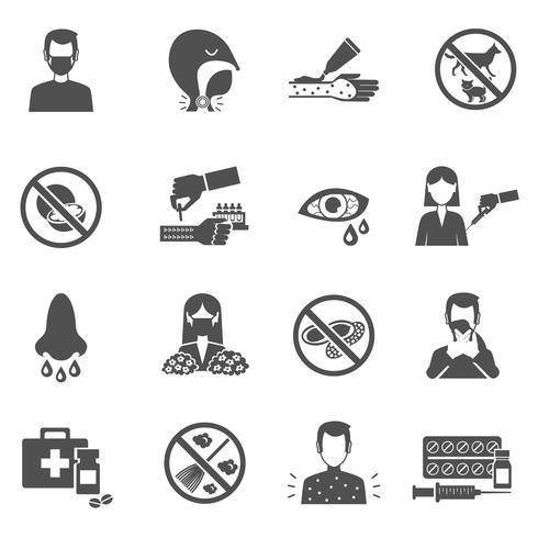 Icone di allergia nere