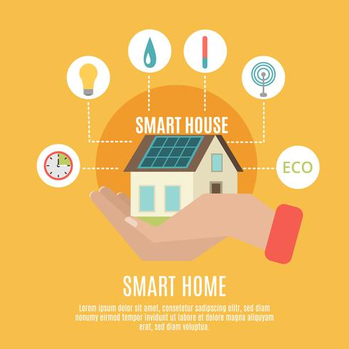 Smart home concept flat icon poster vector
