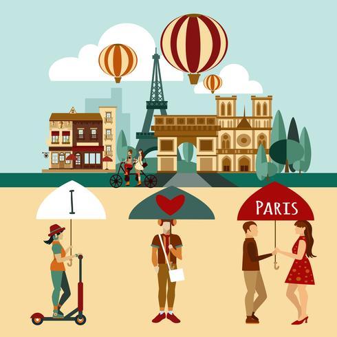 Ensemble touristique parisien vecteur