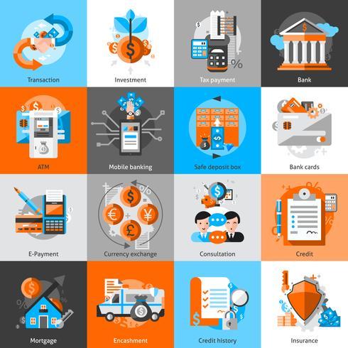 Conjunto de iconos de banca vector