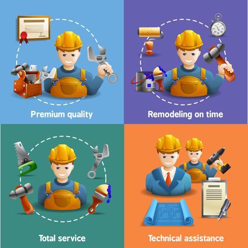 Remodeling service 4 plat pictogrammen vierkant