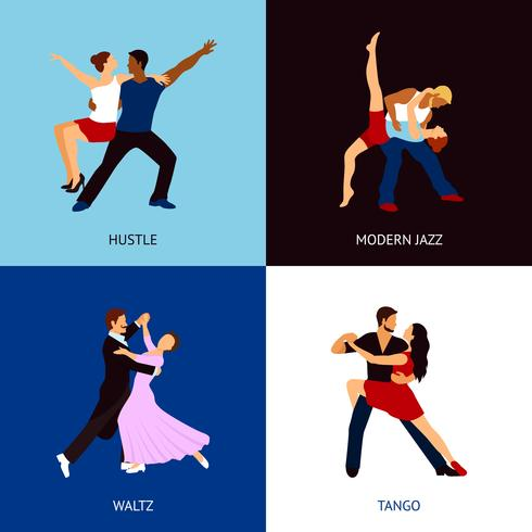Conjunto de personas bailando vector