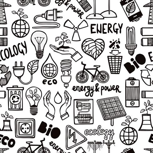 Patrón sin costuras con símbolos de energía