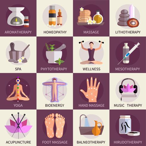 Set di icone di medicina alternativa vettore