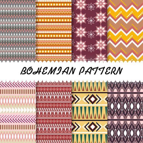 Abstract Beautiful Bohemian pattern set background