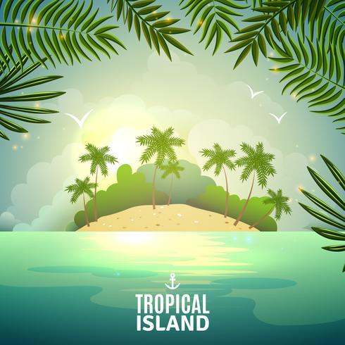 Tropisk ö natur affisch