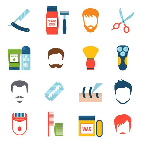 Shaving Icons Set vector