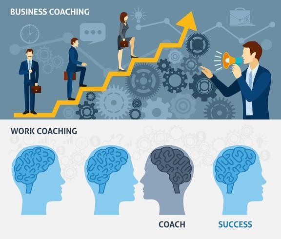 Business coaching horisontella platt banners set