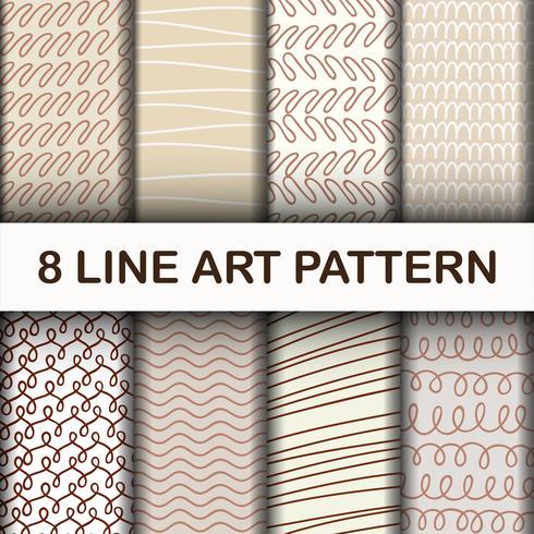 8 Set Abstract Line Art Pattern