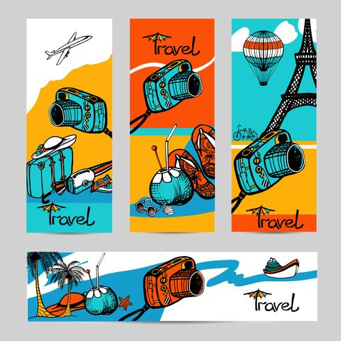 conjunto de banner de foto de viaje
