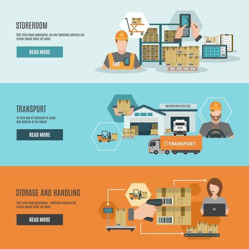Warehouse storeroom interactive flat banners set vector