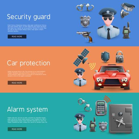 Security Horizontal  Banners Set  vector