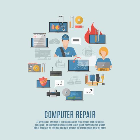 Cartaz de composição de ícones plana de reparo de computador