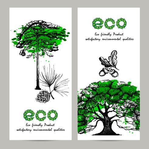 Conjunto de banners de ecología vector
