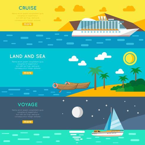 Nautical travel concept horizontal banners set