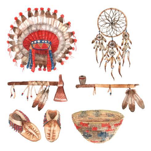 Amerikanska infödda objekt piktogrammer uppsättning akvarell