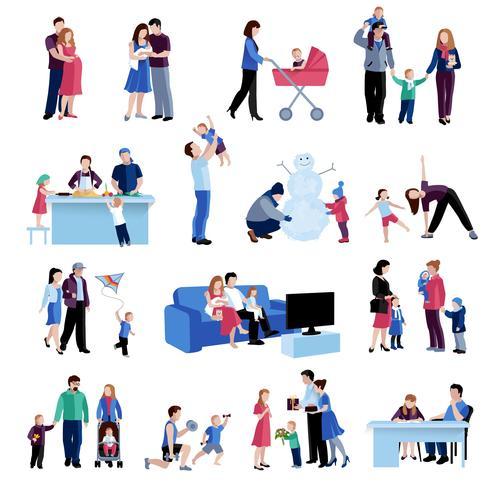 Conjunto de ícones plana de situações familiares de paternidade