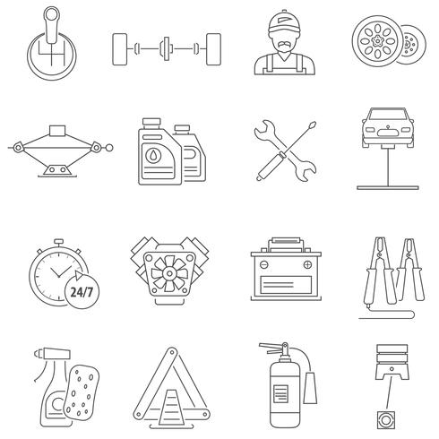 Car Service Icons Line vector