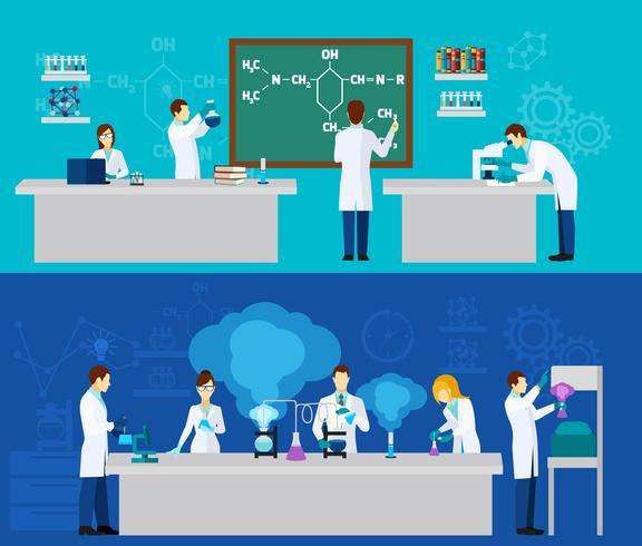 Conjunto de banners de científico vector