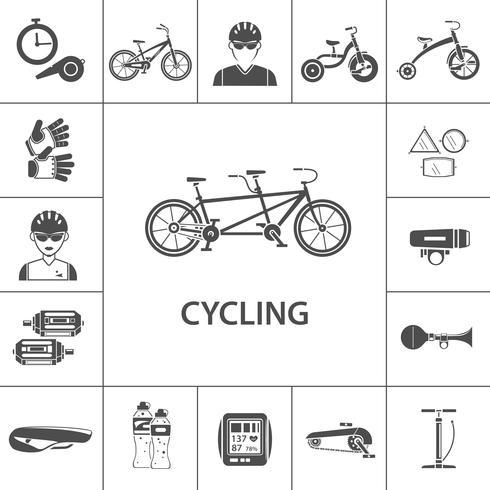 Ensemble d'icônes de vélo noir