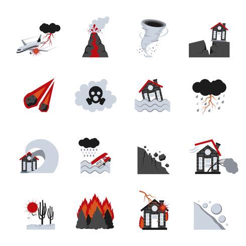 Naturkatastrophen-Ikonen eingestellt vektor