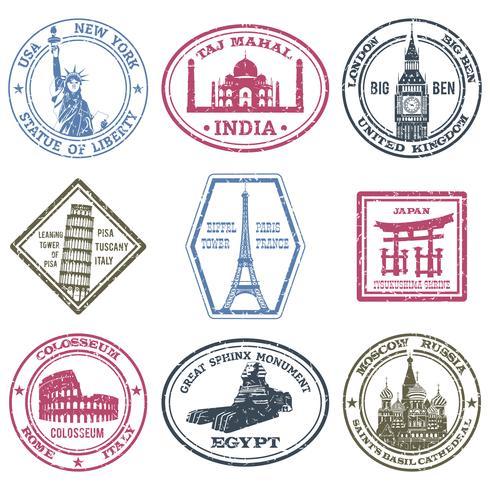 Conjunto de sellos de monumentos vector