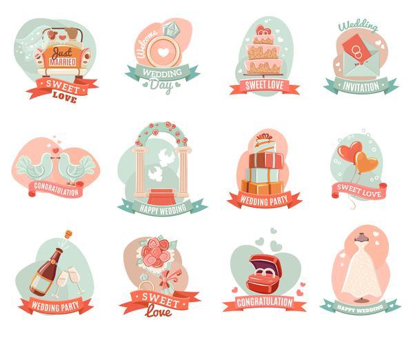 Conjunto de adesivos de emblemas de noivado de casamento de casamento vetor