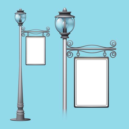 Panneau d'affichage sur le lampadaire de rue vecteur