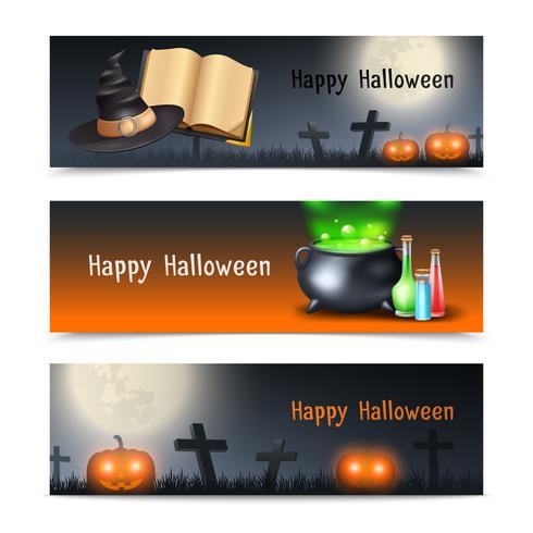 Conjunto de banners de Halloween vector