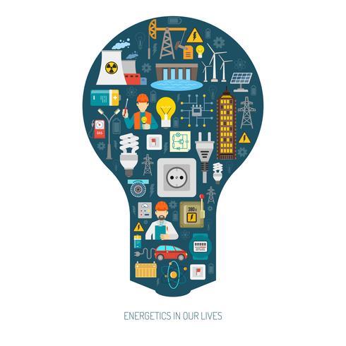 Energiproduktion konsumtion koncept glödlampa affisch vektor