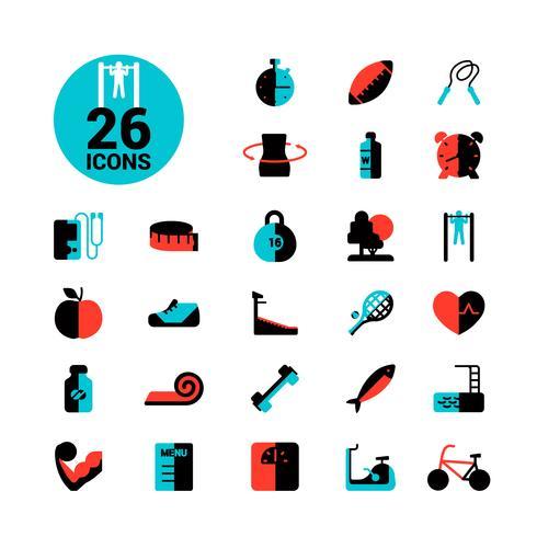 Conjunto de ícones de fitness vetor