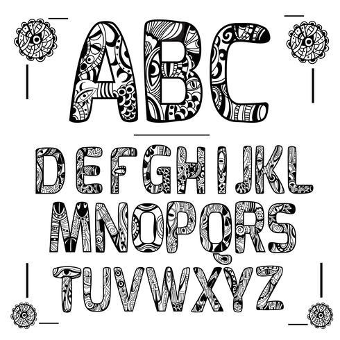 Zentangle Alphabet schwarz