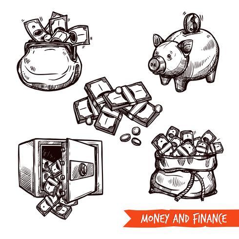 Dibujado a mano finanzas símbolos conjunto doodle vector