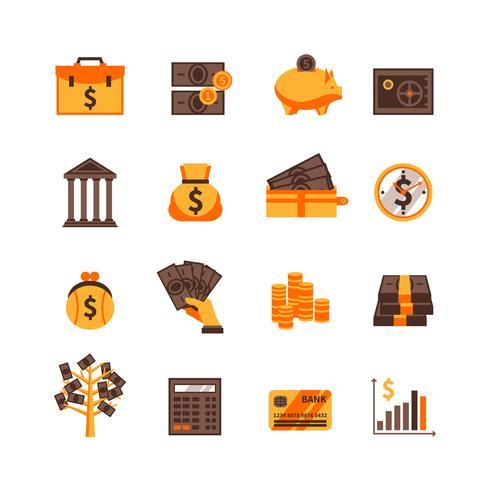 finances ensemble d'icônes vecteur