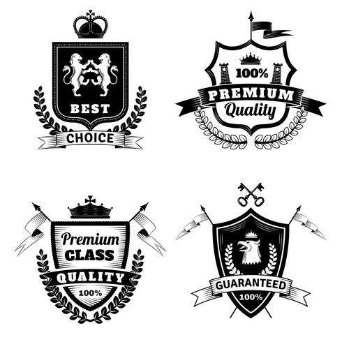 Conjunto de emblemas escolha melhor heráldica