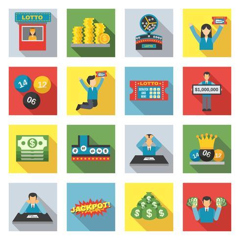 Loterij pictogrammen platte Set vector