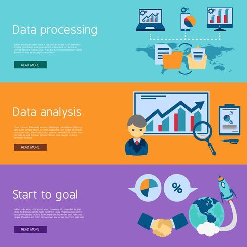 Data analysis flat banners set