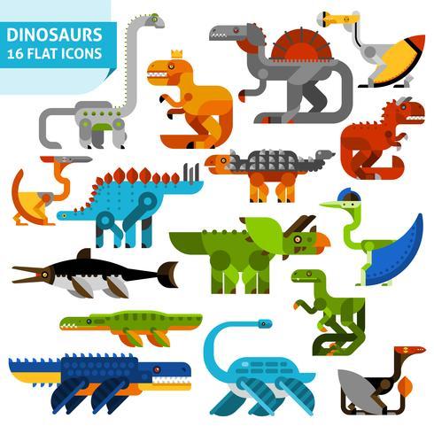 Dinosaurikoner Set vektor