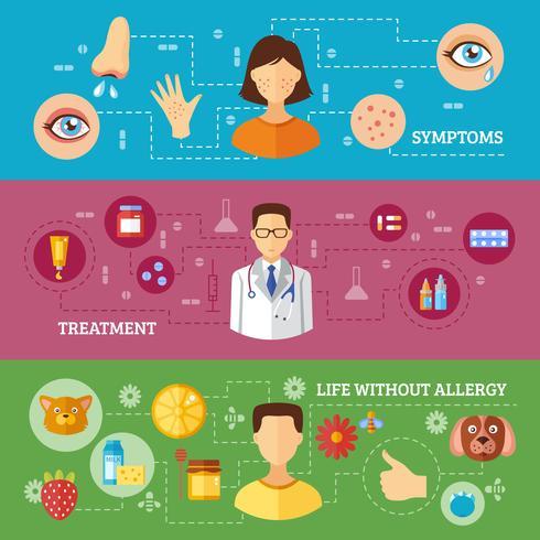 Symptômes d'allergie Traitement médical Bannières horizontales