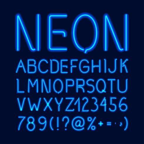 Alphabet néon lueur vecteur