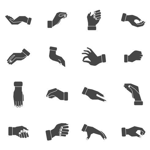 Handpalmen die zwarte geplaatste pictogrammen grijpen