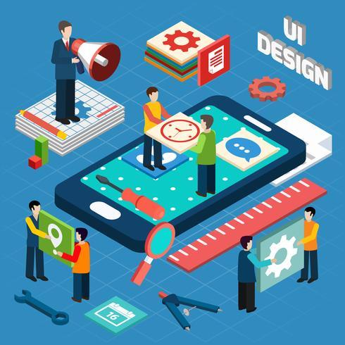 Gebruikersinterface ontwerp concept symbolen lay-out