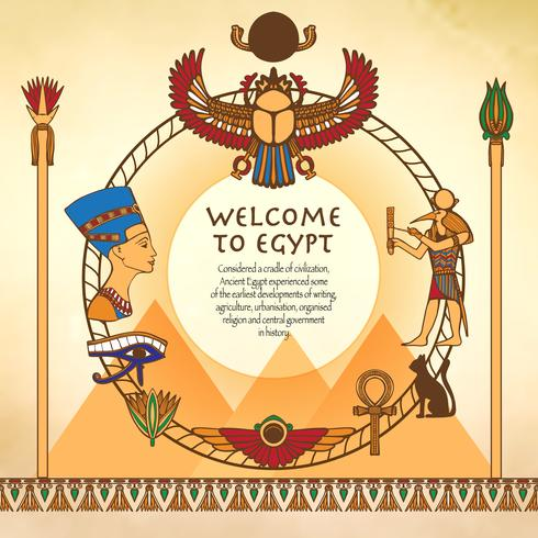 Egyptian Background With Frame vector