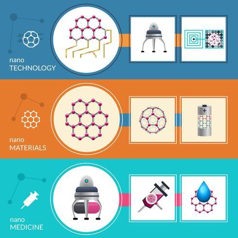 Jeu de 3 bannières plates concept nanotechnologie