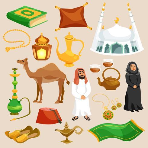 Conjunto de Cultura Árabe vetor