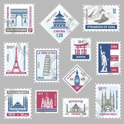 Conjunto de sellos de correos vector